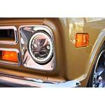 Single Black Chrome Face 575 Round Vx Led Headlight W Low-High-Halo 3