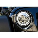 Pair Of 7 Round Amber Halo Vx Series Black Chrome Face Led Headlight W Low-High-Halo 3