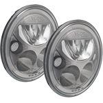 Pair Of 7 Round Vx Black Chrome Face Led Headlight W Low-High-Halo 1