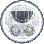 Single 7 Round Vx Led Headlight W Low-High-Halo 3