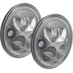 Pair Of 7 Round Amber Halo Vx Series Black Chrome Face Led Headlight W Low-High-Halo 1