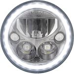 Single 7 Round Vx Black Chrome Face Led Headlight W Low-High-Halo 3