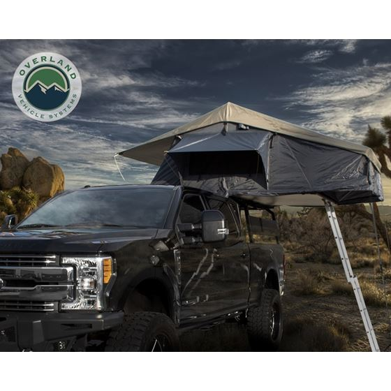 Nomadic 4 Extended Roof Top Tent  Dark Gray Base With Green Rain Fly and Black Cover 1