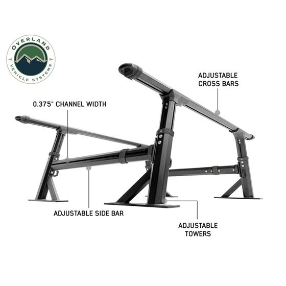 Overland Vehicle System Freedom Rack With Cross Bars and Side Supports 1