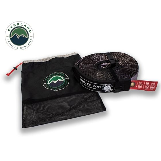 Tow Strap 20000 lb 2 x 30 Gray With Black Ends and Storage Bag 1
