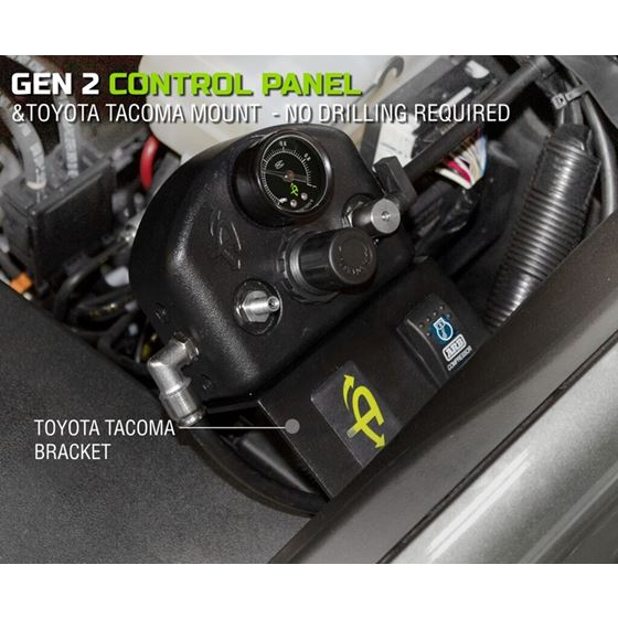 4 Tire Inflation System  Tacoma Engine Bay Mount w Box Fittings Hoses and Storage Bag  Black 3