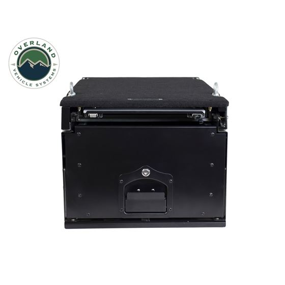 Cargo Box With Slide Out Drawer and Working Station Size  Black Powder Coat 1
