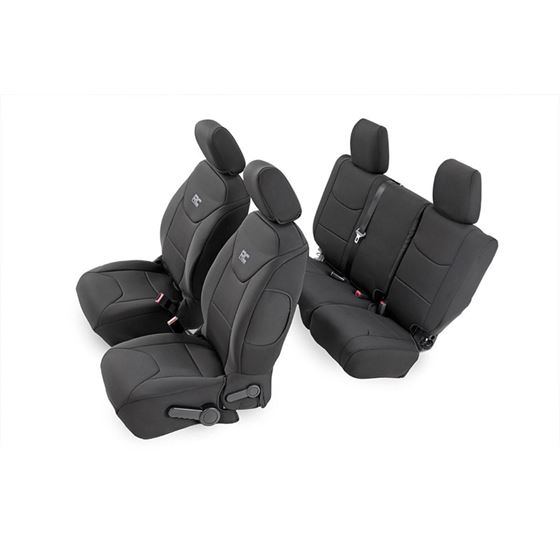 Jeep Neoprene Seat Cover Front and Rear Combo Black 13-18 Wrangler JK Unlimited