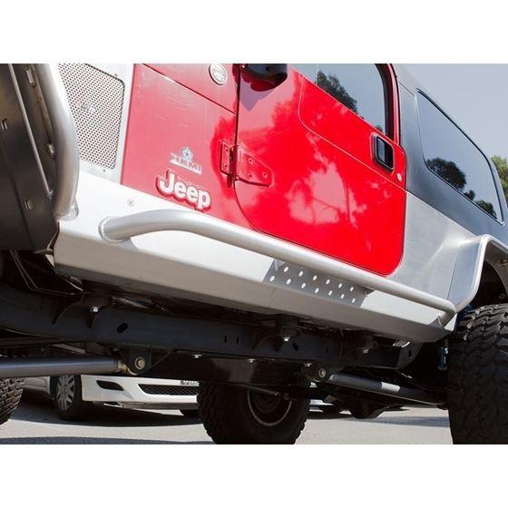 Jeep Rocker Guards Stretch Mini Boat Side Pair 0406 Wrangler LJ Steel Bare 1