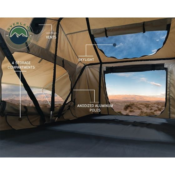 TMBK 3 Roof Top Tent  Tan Base With Green Rain Fly 1