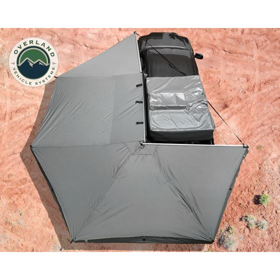 Nomadic Awning 270  Dark Gray Cover With Black Transit Cover Driver Side and Brackets 1