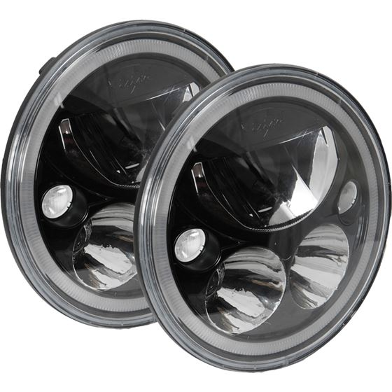 Kit Of Two Black Chrome Face 575 Round Vx Led Headlight W Low-High-Halo 1