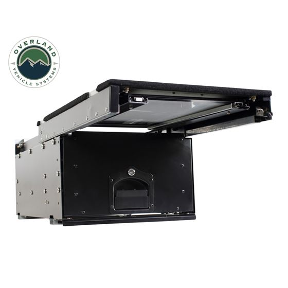 Cargo Box With Slide Out Drawer and Working Station Size  Black Powder Coat 3