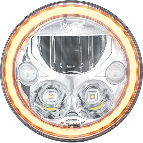 Single 7 Round Amber Halo Vx Series Led Headlight W Low-High-Halo 3