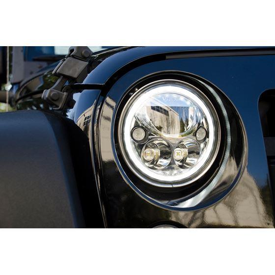 Pair Of 7 Round Vx Black Chrome Face Led Headlight W Low-High-Halo 3