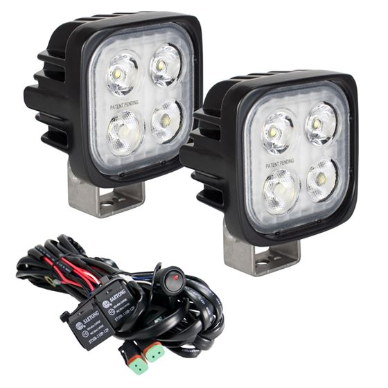 Kit Of Two Dura Mini 4 Led Mixed Beam 1025 Degree And Dual Wire Harness 1