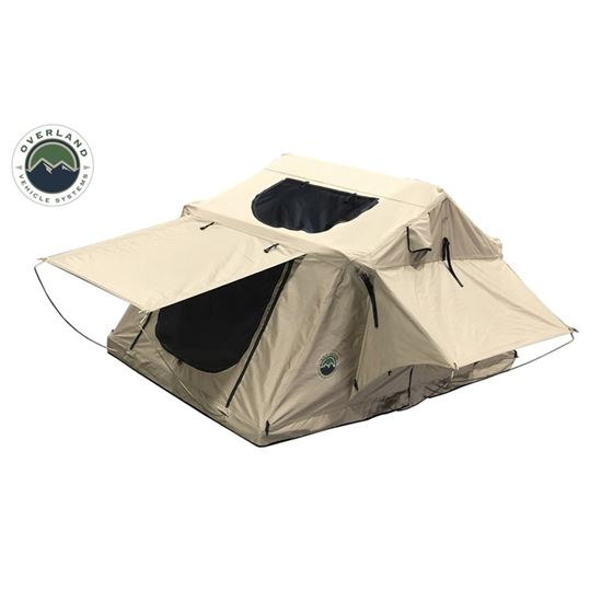 TMBK 3 Roof Top Tent  Tan Base With Green Rain Fly 3
