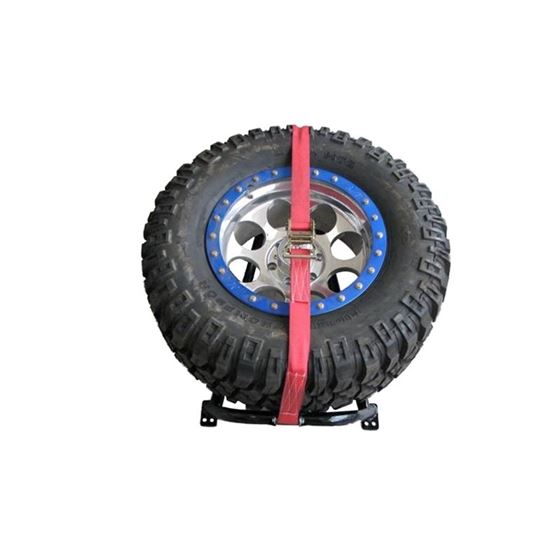 Textured Black Bed Mounted Tire Carrier w Red Strap BM1TCRDTX 3