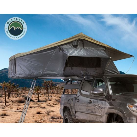 Nomadic 3 Extended Roof Top Tent  Dark Gray Base With Green Rain Fly and Black Cover 1