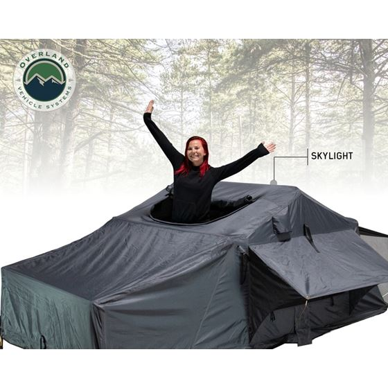 Nomadic 4 Extended Roof Top Tent  Dark Gray Base With Green Rain Fly and Black Cover 3